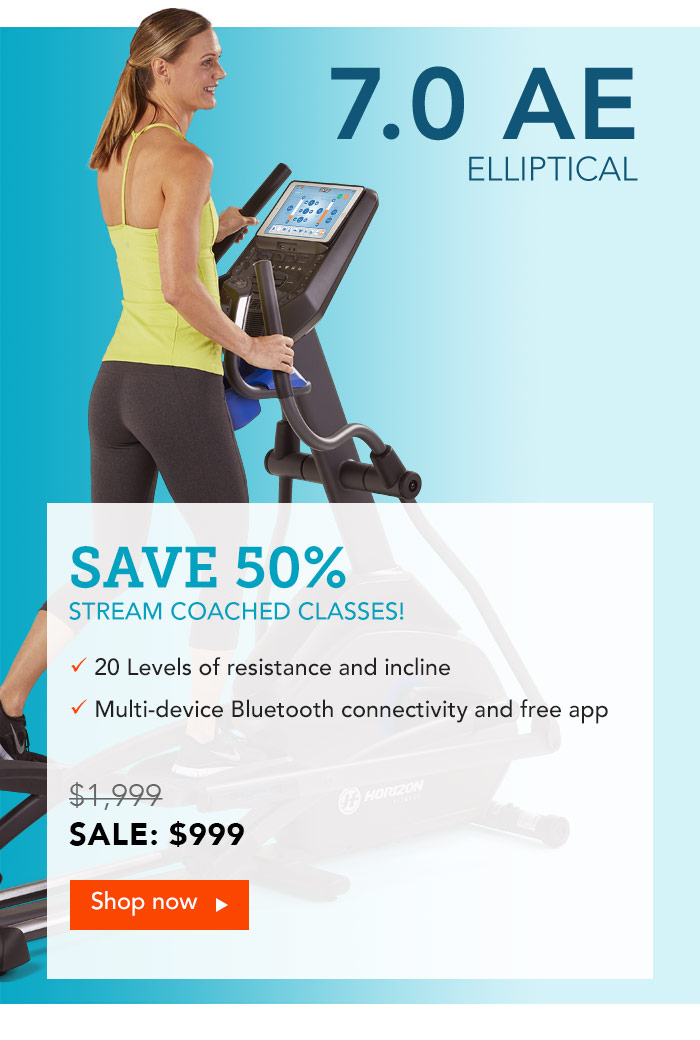 Save 55% on the Horizon 7.0AE Elliptical. Stream Coached Classes!