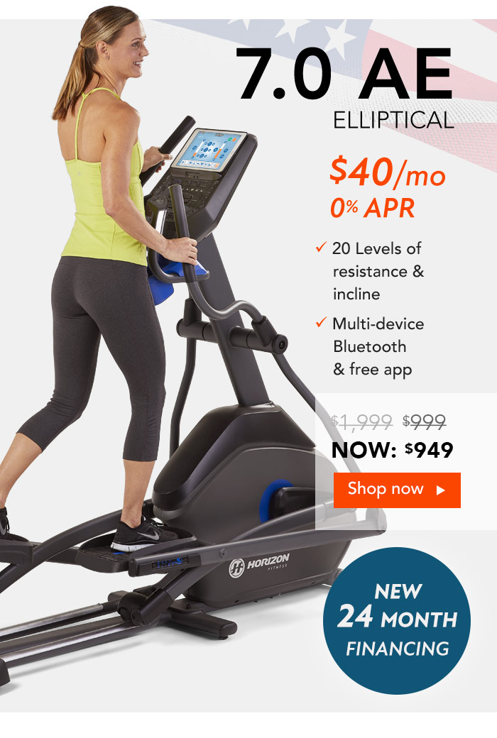 Save an extra $50 the Horizon 7.0AE Elliptical. $50 Athleta Gift Card with purchase!