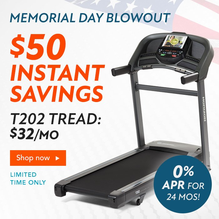 $50 Instant Savings on the T202 Treadmill. New 0% APR 24-month Financing.